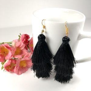 Black Tiered Tassel Drop Dangle Earrings